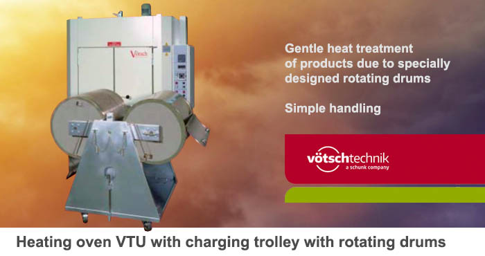 Heating oven VTU with charging trolley with rotating drums